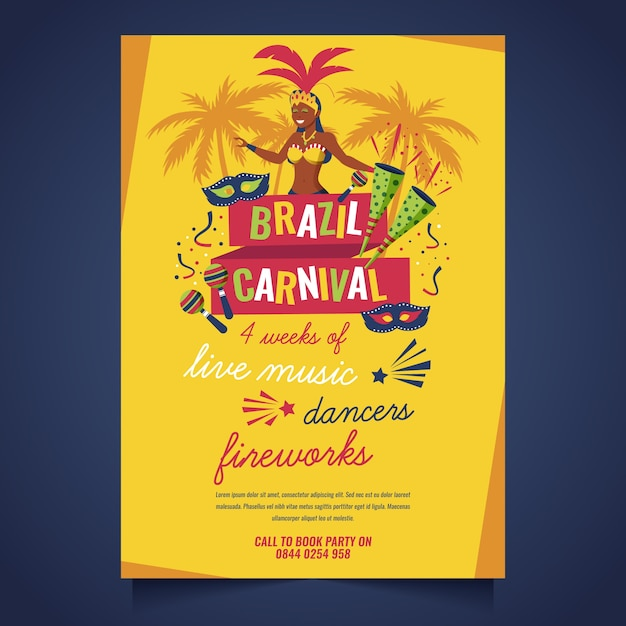 Thème De Modèle D'affiche De Carnaval Brésilien Design Plat Vecteur gratuit