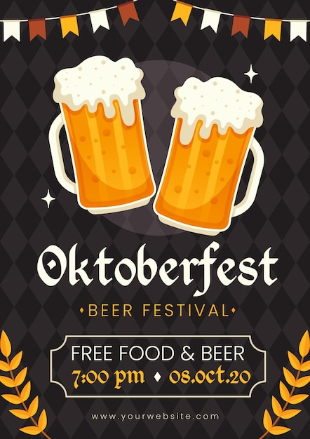 Thème De Modèle D'affiche Oktoberfest Vecteur gratuit