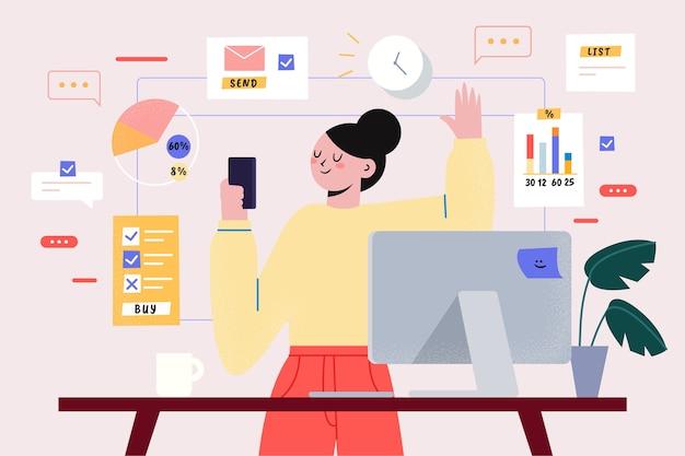 Thème multitâche pour illustration Vecteur gratuit