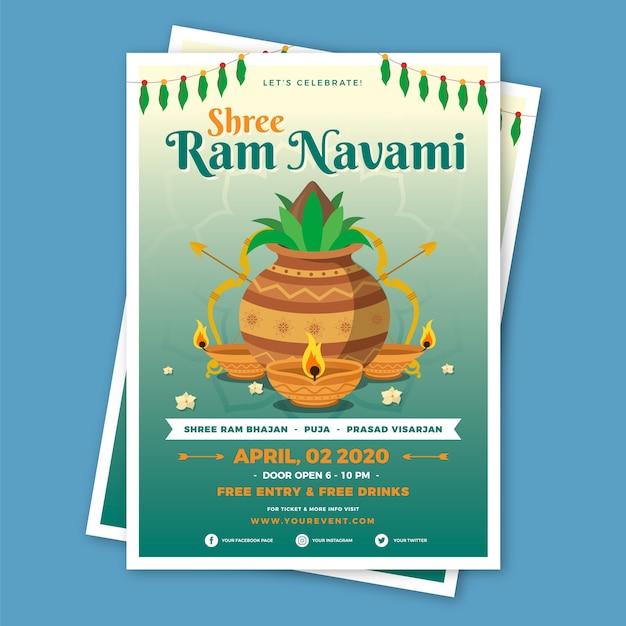 Thème Navami Heureux Ram Design Plat Vecteur gratuit