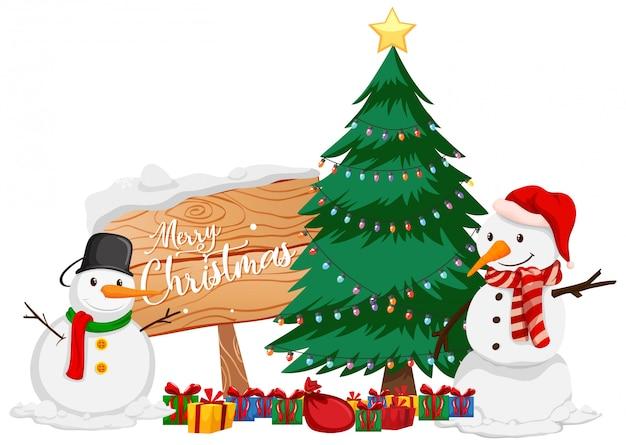 Thème De Noël Avec Bonhomme De Neige Et Arbre De Noël Vecteur gratuit