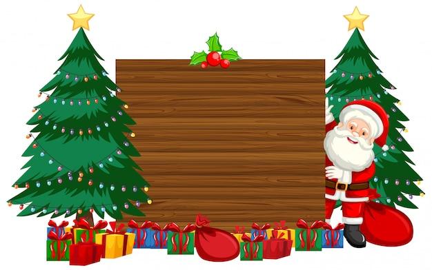 Thème De Noël Avec Père Noël Et Cadeaux Vecteur gratuit