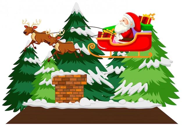 Thème De Noël Avec Le Père Noël En Traîneau Vecteur gratuit