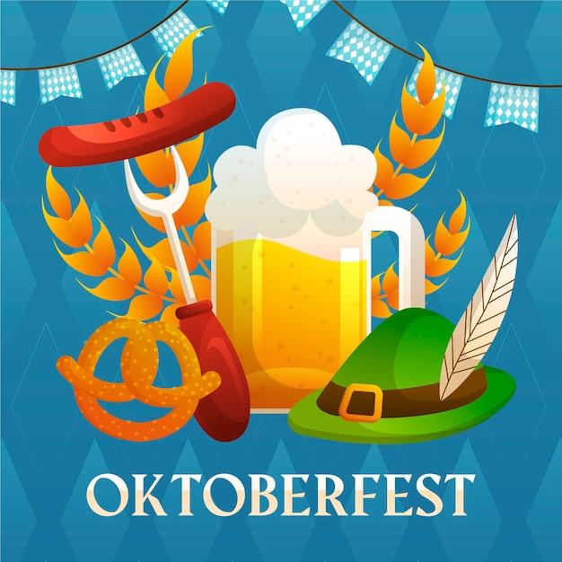 Thème Oktoberfest Dessiné à La Main Vecteur gratuit