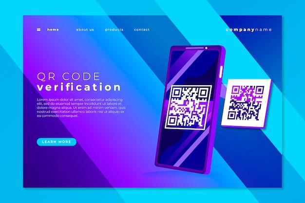 Thème De La Page De Destination Du Code Qr Vecteur gratuit