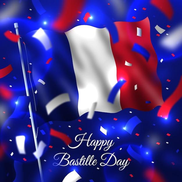 Thème Réaliste De La Journée Bastille Vecteur gratuit