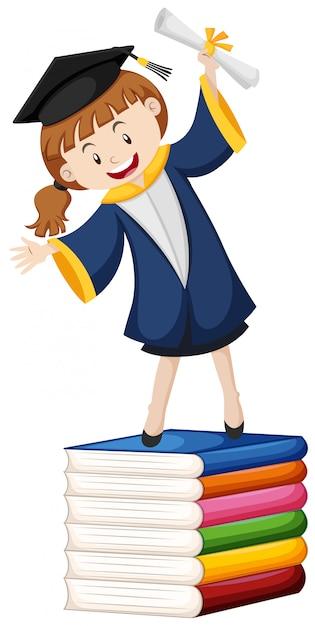 Thème de la remise des diplômes avec fille et livres Vecteur gratuit
