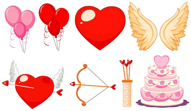 Thème De La Saint-valentin Avec Des Ballons Et Des Gâteaux Vecteur gratuit