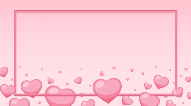 Thème De La Saint-valentin Avec Des Coeurs Roses Autour Du Cadre Vecteur gratuit