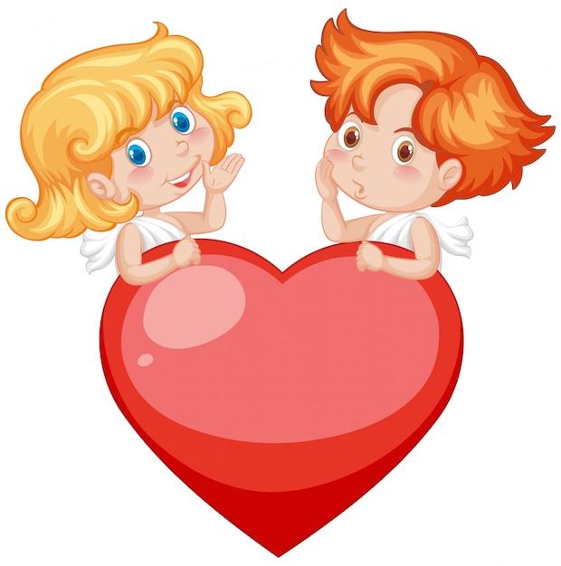 Thème De La Saint-valentin Avec Cupids Et Coeur Rouge Vecteur gratuit