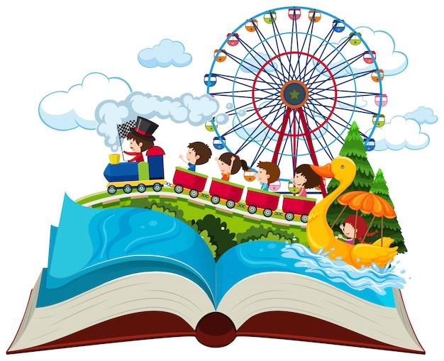 Thème de vacances de livre ouvert Vecteur Premium