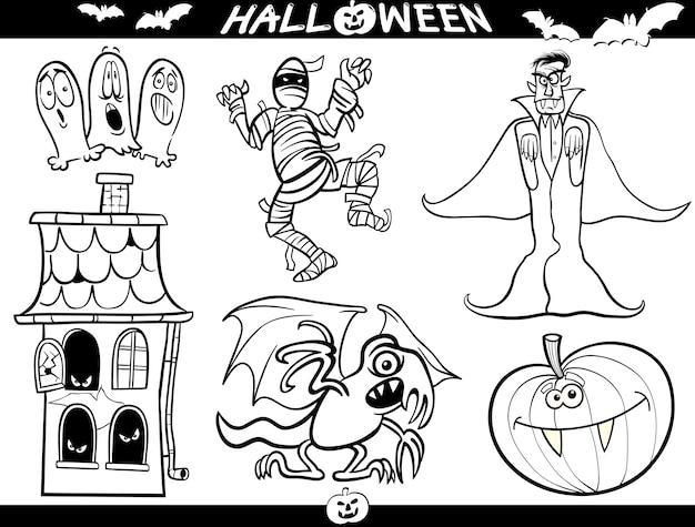 Thèmes De Dessin Animé Halloween Pour Livre De Coloriage
