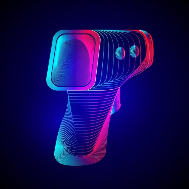 Thermomètre Infrarouge Numérique Sans Contact. Aperçu Du Pistolet De Température électronique Dans Le Style D'art En Ligne 3d Sur Fond Abstrait Néon Vecteur Premium