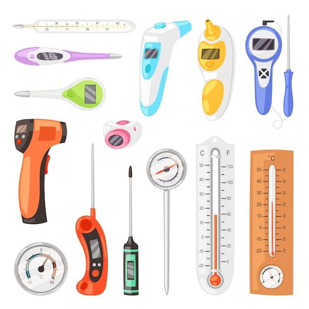 Thermomètre Mesure De La Température Celsius Fahrenheit échelle Temps Chaud Froid Illustration Ensemble De Météorologie Tempérée Ou D'équipement Médical Mesurant La Température Isolé Sur Fond Blanc Vecteur Premium