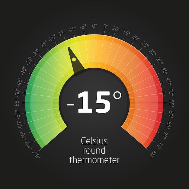 Thermomètre rond vector celsus Vecteur Premium