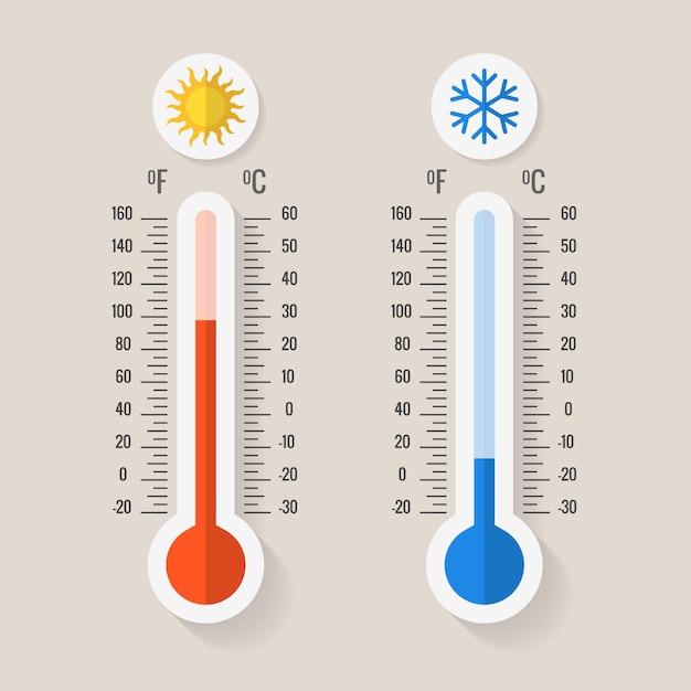 Thermomètres De Météorologie Celsius Et Fahrenheit Vecteur Premium