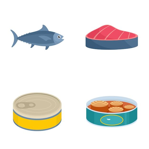 Le thon peut steak set d'icônes Vecteur Premium