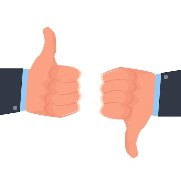 Thumbs Up, Thumbs Down Like And Don't Like Icône De Réseau Social. Illustration Vectorielle. Vecteur Premium