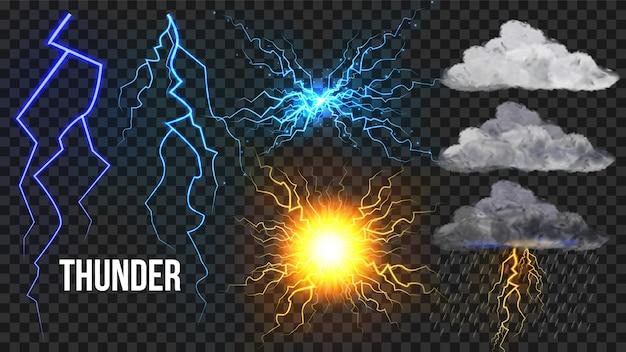 Thunder, lightnigs set Vecteur Premium