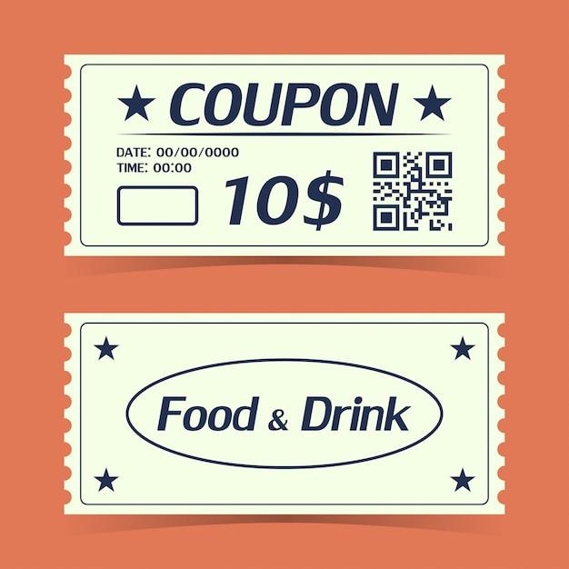 Ticket carte de coupon. modèle d'élément pour la conception Vecteur Premium