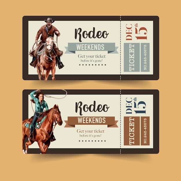 Ticket De Cow-boy Avec Rodéo Américain Vecteur gratuit