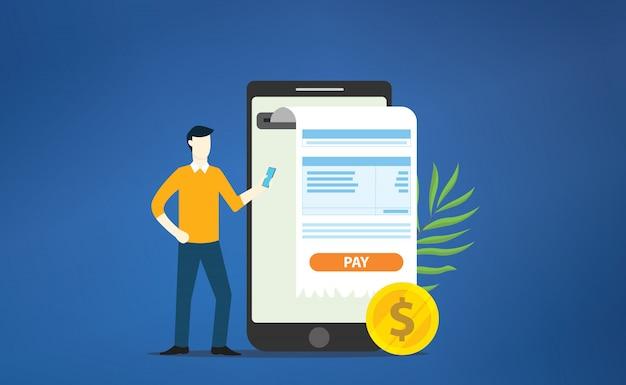 Ticket de paiement mobile en ligne Vecteur Premium