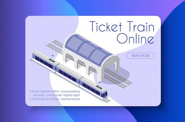 Ticket train en ligne Vecteur Premium
