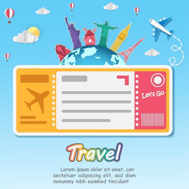 Ticket de vol à travers le monde. Vecteur Premium