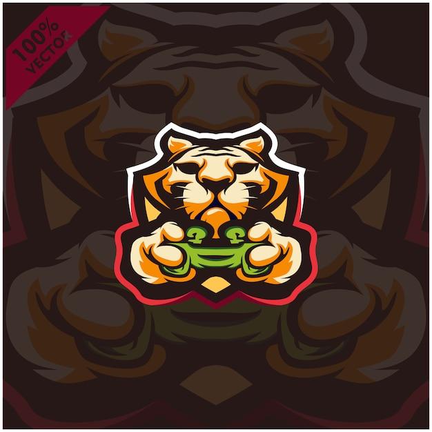 Tiger Gamer Tenant La Console De Jeu Joystick. Création De Logo De Mascotte Pour L'équipe Esport. Vecteur Premium