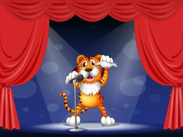 Un tigre au centre de la scène Vecteur Premium