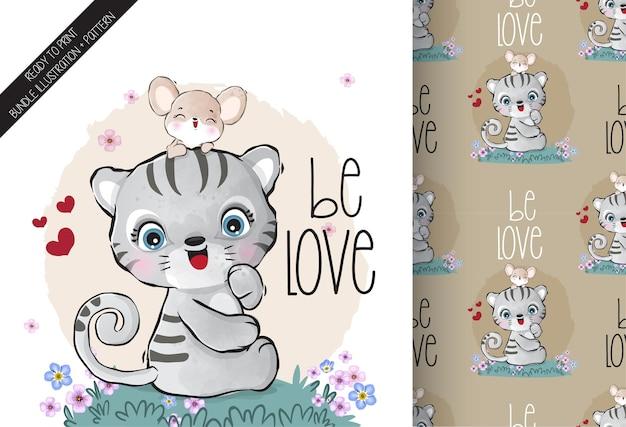 Tigre De Bébé Animal Mignon Charmant Avec Modèle Sans Couture De Souris Bébé Vecteur Premium