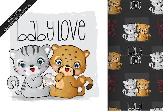 Tigre De Bébé Animal Mignon Avec Modèle Sans Couture De Bébé Guépard Vecteur Premium