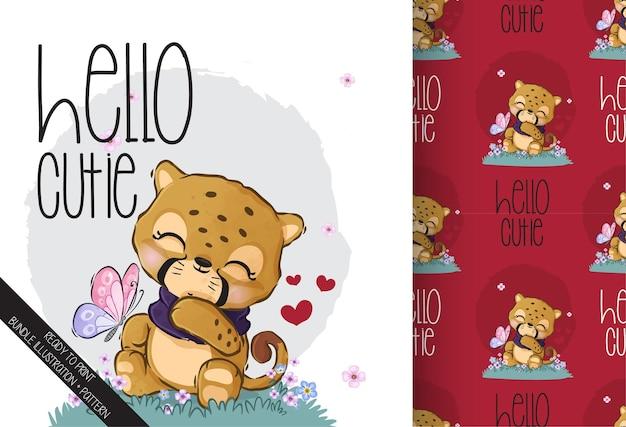 Tigre De Bébé Animal Mignon Avec Modèle Sans Couture De Papillon Vecteur Premium