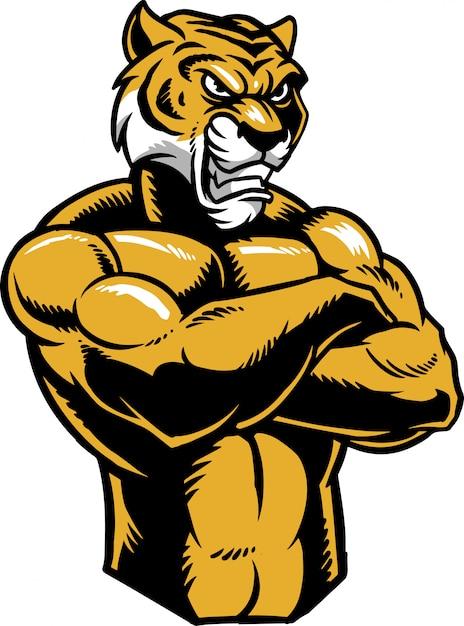 Tigre en colère Vecteur Premium