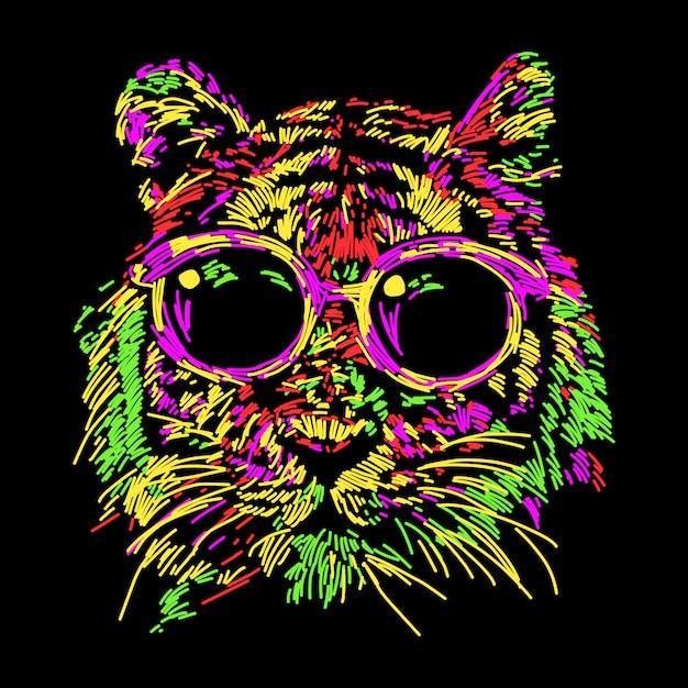 Tigre coloré abstrait avec des lunettes Vecteur Premium
