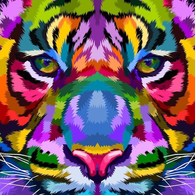 Tigre coloré se bouchent Vecteur Premium