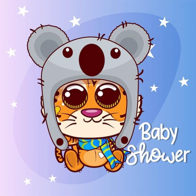 Tigre de dessin animé mignon pour carte de voeux. douche de bébé. anniversaire - vecteur Vecteur Premium