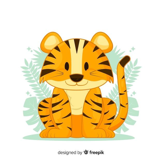 Tigre mignon Vecteur gratuit