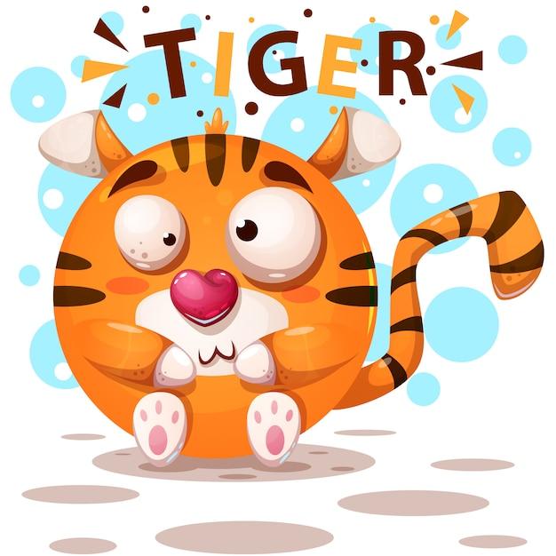 Tigre mignon Vecteur Premium