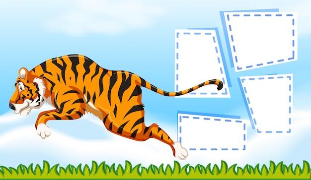 Tigre sur modèle de note Vecteur gratuit