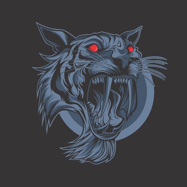 Tigre noir Vecteur Premium