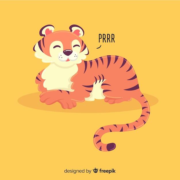 Tigre ronronnant Vecteur gratuit