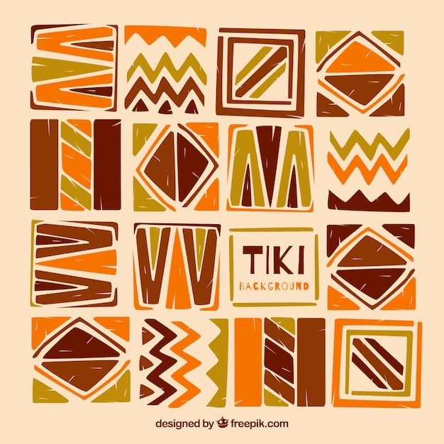 Tiki de fond de formes abstraites peintes à la main Vecteur gratuit