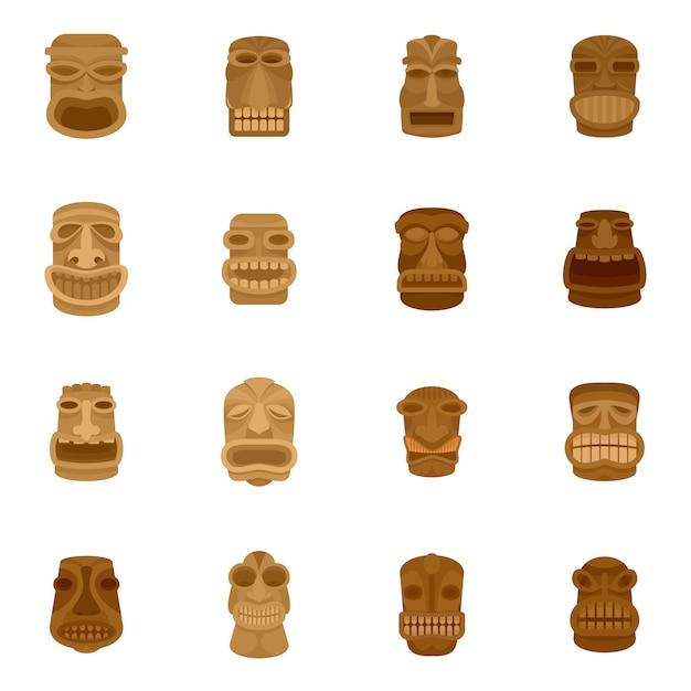 Tiki Idole Aztèque Hawaii Face Ensemble D'icônes Vecteur Premium