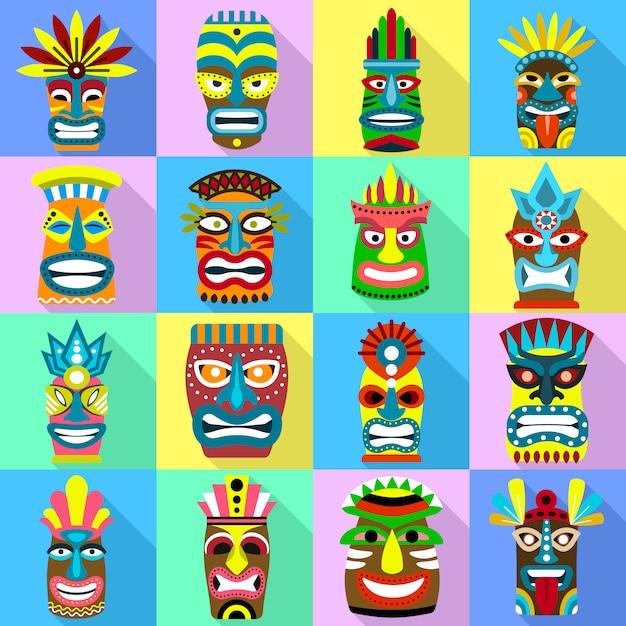 Tiki Idoles Icônes Définies. Ensemble Plat De Vecteur D'idoles Tiki Vecteur Premium