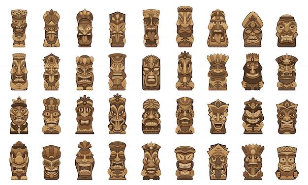 Tiki Idoles Icônes Définies. Jeu De Dessin Animé D'icônes D'idoles Tiki Vecteur Premium