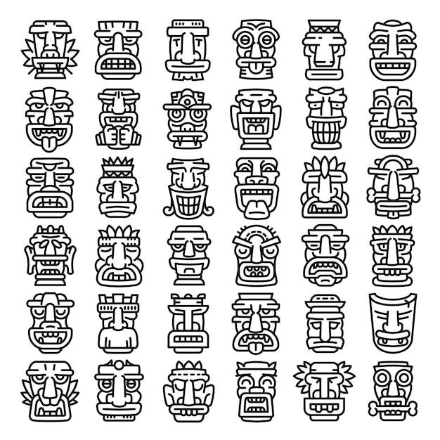 Tiki idols icons set, style de contour Vecteur Premium