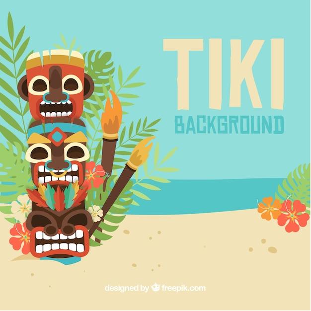 Tiki totem sur la plage avec des torches Vecteur gratuit