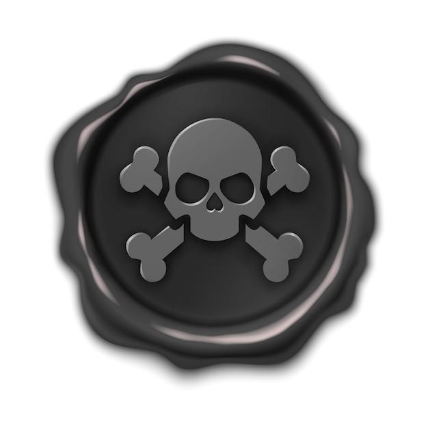 Timbre, 3d Illustration Réaliste étiquette Noire, Marque De Pirate, Isolé Sur Blanc Vecteur Premium