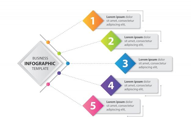 Timbre Coloré Infographique Avec Salon 5 Marches Vecteur Premium